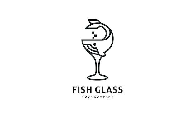 Logo de conception de verre de restaurant de fruits de mer