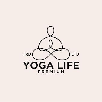 Logo de conception vintage de ligne de yoga namaste