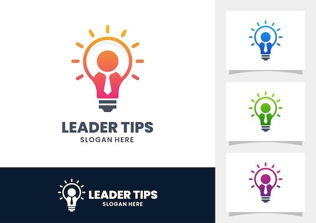 Logo de conseils de leader avec ampoule