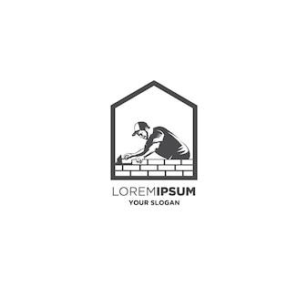 Logo de constructeur de maison de maçon