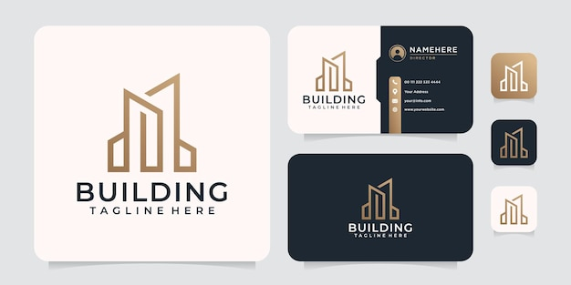 Logo de construction de bâtiment créatif monogramme