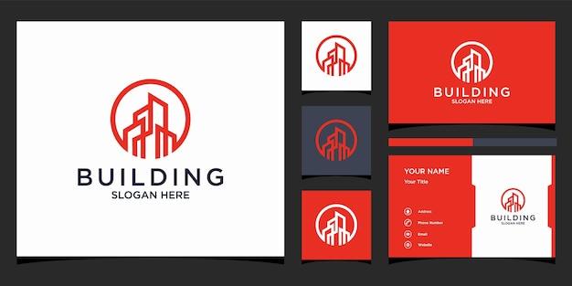 Logo de la construction de bâtiments et carte de visite premium
