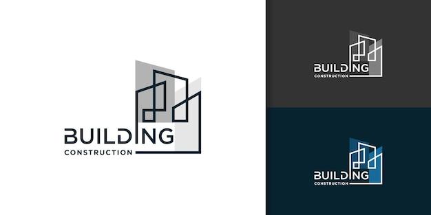 Logo de la construction avec un concept abstrait créatif vecteur premium