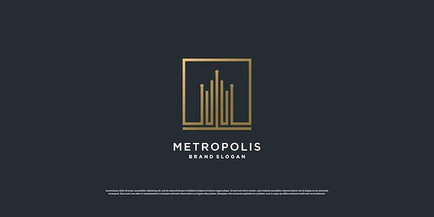 Logo de la construction avec le concept d'art de la ligne carrée dorée vecteur premium