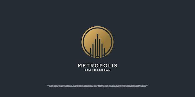 Logo de la construction avec le concept d'art de la ligne dorée vecteur premium