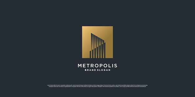 Logo de la construction avec le concept d'or vecteur premium