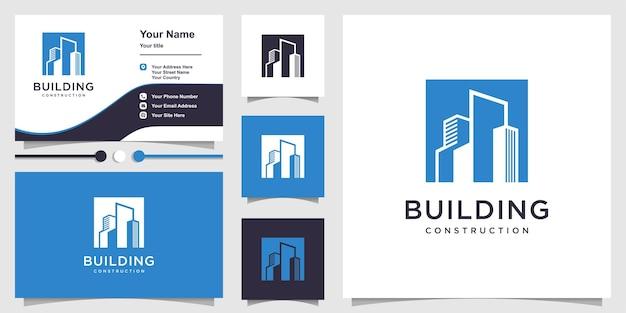 Logo de la construction avec un concept de silhouette cool et un modèle de conception de carte de visite vecteur premium