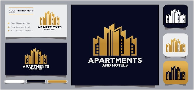 Logo de construction d'immeubles d'appartements et d'hôtels avec affichage de cartes de visite et icônes de médias sociaux