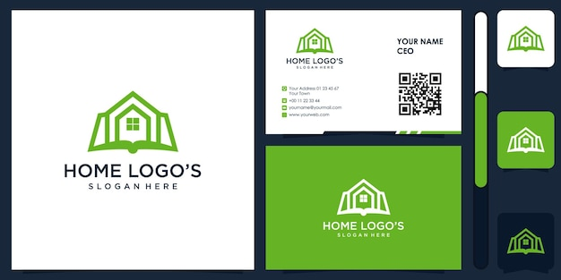 Logo de construction de maison avec vecteur de conception de carte de visite premium