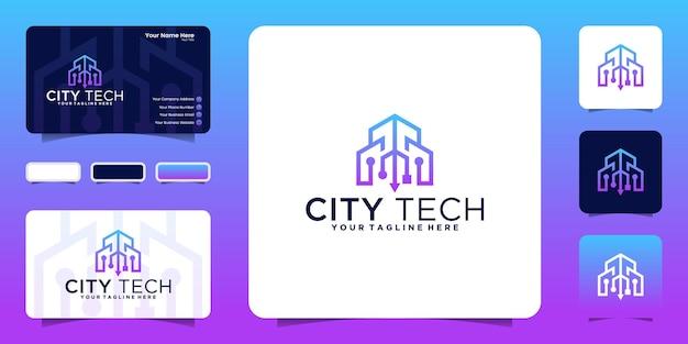 Logo de construction de technologie créative avec conception de logo de style de ligne et inspiration de carte de visite