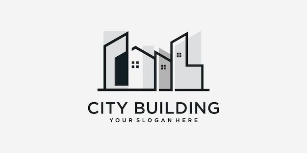 Logo de construction de ville avec modèle de style d'art en ligne vecteur premium