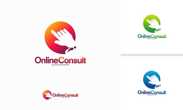 Le logo de consultation en ligne conçoit le vecteur de concept, les conceptions de modèle de logo de consultation
