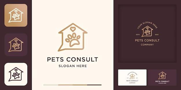 Logo de consultation pour animaux de compagnie, maison de discussion avec empreintes d'animaux