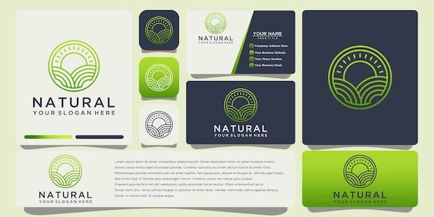 Logo de contour de feuille naturelle avec modèle de carte de visite