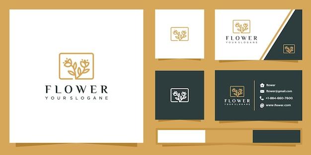 Logo de contour de fleur rose et carte de visite.