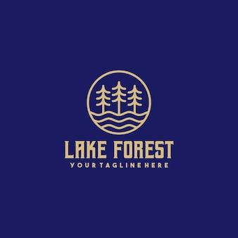 Logo de contour de forêt de lac créatif