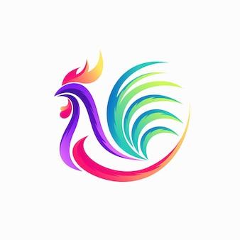 Logo de coq avec concept de dégradé de couleur