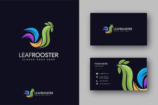 Logo de coq de feuille et carte de visite
