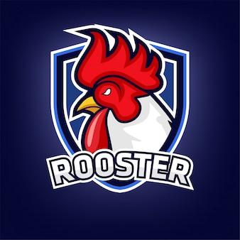 Logo de coq avec fond bleu