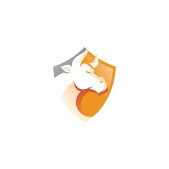Logo de corne et de bouclier de buffle de taureau