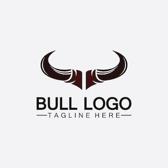 Logo de corne de taureau et application d'icônes de modèle de symbole