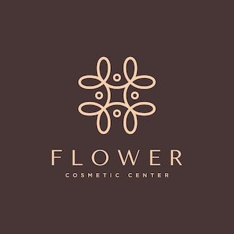 Logo cosmétique naturel avec un concept de belle fleur