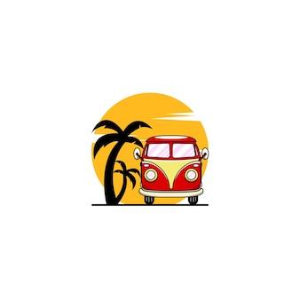 Logo De Coucher De Soleil De Bus De Voiture Vecteur Premium