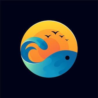 Logo de coucher de soleil avec concept de poisson