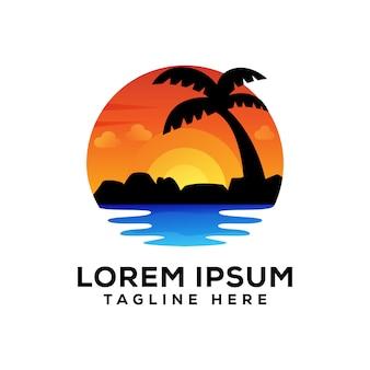 Logo coucher de soleil sur la plage