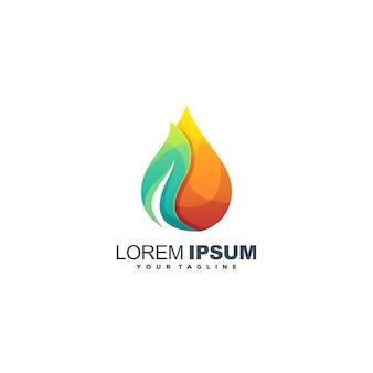 Logo de couleur dégradé eau feuille