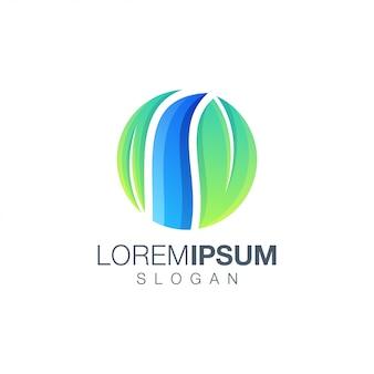 Logo couleur dégradé feuille ronde