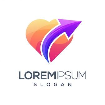 Logo de couleur dégradé flèche amour