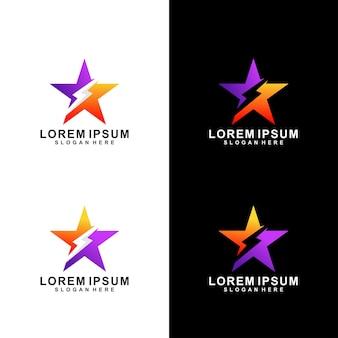 Logo de couleur dégradé star lightning