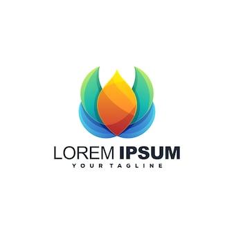 Logo de couleur de fleur moderne