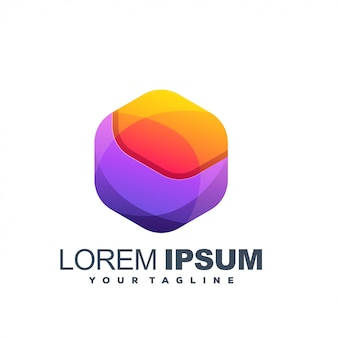 Logo couleur hexagonal impressionnant