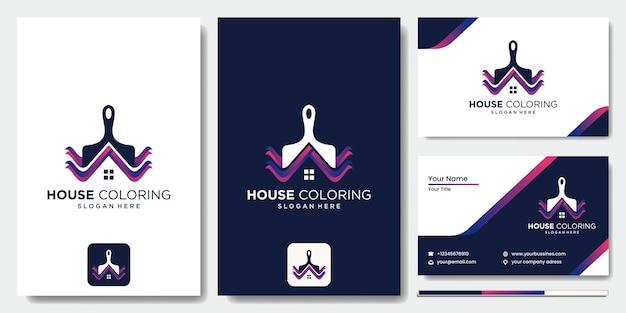 Logo couleur maison pinceau vecteur, logo immobilier avec maison colorée, logo de magasin de peinture maison colorée moderne logo de peinture, maison, maison, modèle vectoriel en couleur