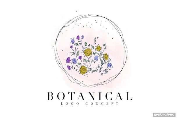 Logo de couleur plat minimal floral dessiné main botanique classique vintage