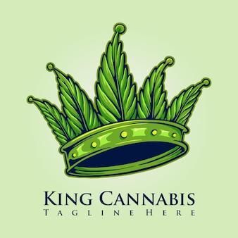 Logo de couronne de cannabis king kush