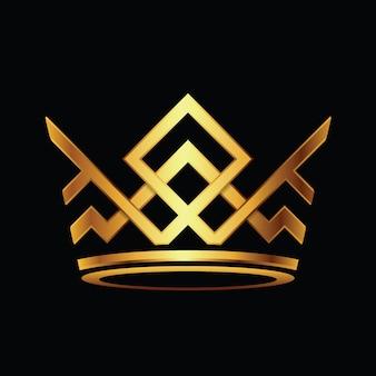 Logo de la couronne moderne royal king queen logo abstrait