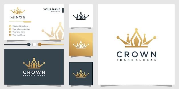 Logo de la couronne avec style dégradé doré et conception de carte de visite vecteur premium