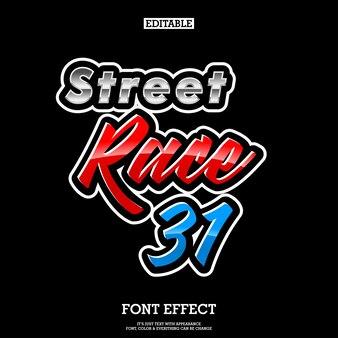 Logo de course de rue éditable effet de texte pour l'autocollant de la communauté et le t-shirt