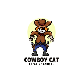 Logo cowboy chat mascotte style dessin animé