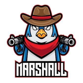 Logo de cowboy penguin esport isolé sur blanc