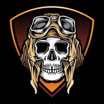 Logo de crâne d'aviateur