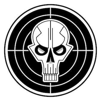 Logo de crâne cool sur fond blanc. illustration vectorielle