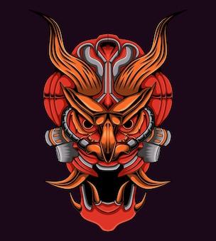 Logo de crâne de méca diable
