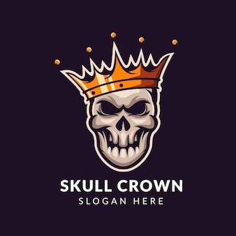 Logo de crâne avec modèle de couronne