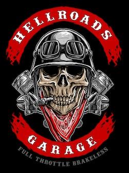 Logo de crâne de motard