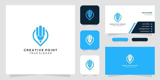 Logo de crayon à broche avec style d'art en ligne et conception de carte de visite
