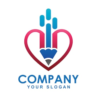 Logo de crayon et forme de coeur